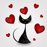 Czarny kot z sercami Zdjęcie Stock