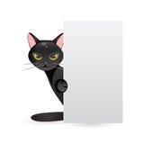 Czarny kot z sztandarem również zwrócić corel ilustracji wektora Fotografia Stock