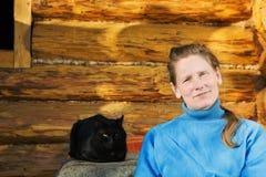 czarny kota kobieta Obraz Royalty Free