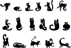 czarny koty ustawiają Obrazy Stock