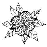Czarny kreskowy abstrakcjonistyczny kwiat z liśćmi dla dorosłego lub dziecka colori Fotografia Royalty Free
