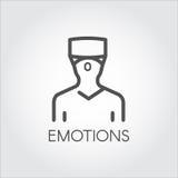 Czarny kreskowy ikona przyrządu mężczyzna w hełma VR rzeczywistości wirtualnej Obrazy Stock