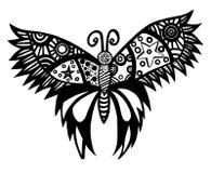 Czarny kreskowy motyl dla tatuażu, kolorystyki książka Zdjęcie Royalty Free