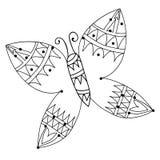 Czarny kreskowy motyl dla tatuażu, kolorystyki książka Obraz Stock