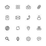 Czarny kreskowy prosty sieci ikony set Zdjęcie Stock