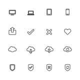 Czarny kreskowy prosty sieci ikony set Zdjęcia Royalty Free