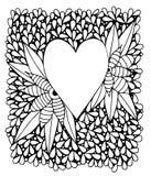 Czarny kreskowy serce w abstrakt ramie Zdjęcie Stock