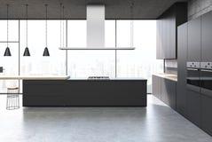 Czarny kuchenny wnętrze, baru stojak ilustracji