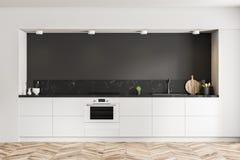 Czarny kuchenny wnętrze, biali countertops ilustracja wektor