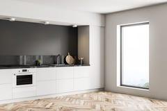 Czarny kuchnia kąt, biali countertops ilustracji