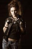 czarny kurtki cajgów kobieta zdjęcia royalty free