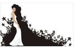 czarny kwiat słucha whith kobiety Ilustracji