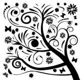 czarny kwiatu sylwetki drzewo Zdjęcia Stock