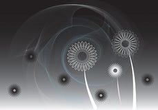 czarny kwiaty zwoje royalty ilustracja