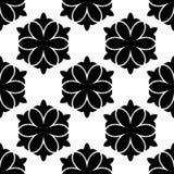 czarny kwiecisty deseniowy bezszwowy biel Zdjęcie Royalty Free