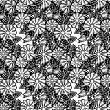 czarny kwiecisty deseniowy bezszwowy biel Raster klamerki sztuka Obrazy Stock