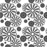 czarny kwiecisty deseniowy bezszwowy biel Raster klamerki sztuka Zdjęcia Royalty Free