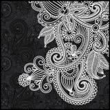 czarny kwiecisty deseniowy biel Obraz Royalty Free