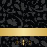 Czarny kwiecisty tło i złoty sztandar Zdjęcia Royalty Free