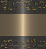 czarny kwiecisty złocisty rocznik Obraz Stock