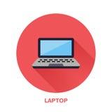 Czarny laptopu notatnik z pustego ekranu mieszkania stylu ikoną Technologia bezprzewodowa, przenośnego komputeru znak wektor Obrazy Royalty Free
