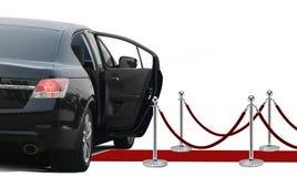 Czarny limo z otwarte drzwi nad bielem Obrazy Royalty Free