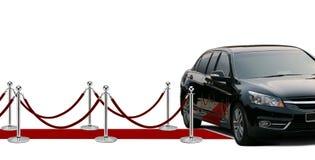 Czarny limuzyna czerwony chodnik i przyjazd Zdjęcie Royalty Free
