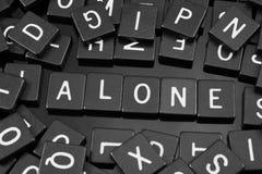 Czarny list tafluje literować x22 & słowo; alone& x22; fotografia stock