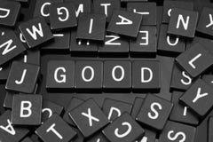 Czarny list tafluje literować x22 & słowo; good& x22; Fotografia Stock
