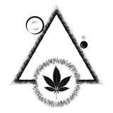 Czarny marihuana liść i słońce royalty ilustracja
