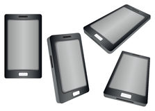 Czarny Mądrze telefon w inna perspektywa widokach Odizolowywających na Whi Obraz Royalty Free