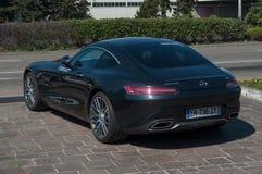 czarny Mercedes GT V8 bi Turbo parkował Obrazy Royalty Free