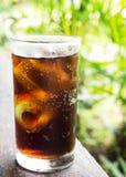 Czarny miękki napój w szkle Ogrodowy widok z bokeh Ulubiony miękki napój obrazy stock