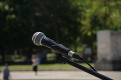 czarny mikrofonu zakończenie up plenerowy Zdjęcia Stock