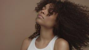 Czarny model z ogromnym kędzierzawego włosy poruszającym potrząsalnym włosy w zwolnionym tempie od 60 fps zdjęcie wideo