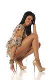 czarny mody modela target703_0_ kobiety potomstwa Obrazy Stock