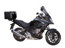 Czarny motocycle z pudełkiem na białym tle Zdjęcia Royalty Free