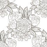 czarny motyli kwiecisty kwiatów wzoru biel Obrazy Royalty Free