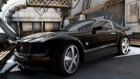 Czarny mustangów sportów samochód Fotografia Stock