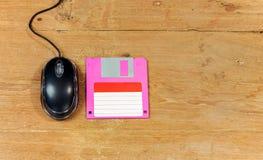 Czarny mysz komputer i opadający dysk Zdjęcie Stock