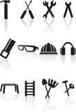 czarny narzędzia ikony serie ustawiać ilustracji