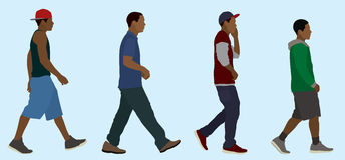 Czarny Nastoletni chłopiec Chodzić Zdjęcia Stock