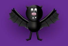 Czarny nietoperza postać z kreskówki z grubym brzuszkiem Śliczny straszny Fotografia Royalty Free