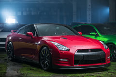 Czarny Nissan GT-R nastrajanie Obraz Royalty Free