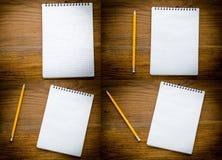 Czarny notatnik z pencile na drewnianym tle Zdjęcia Royalty Free
