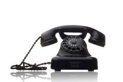 czarny obrotowy telefon Fotografia Stock