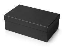 Czarny obuwiany pudełko odizolowywający na bielu Obrazy Stock