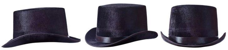 Czarny odgórny kapelusz na bielu Zdjęcie Stock
