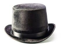 Czarny odgórny kapelusz odizolowywający na bielu Obrazy Royalty Free