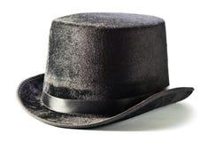 Czarny odgórny kapelusz odizolowywający na bielu Zdjęcie Stock